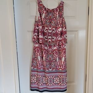 Vince Camuto Size 8 Tiered Lined Cream Print Dress